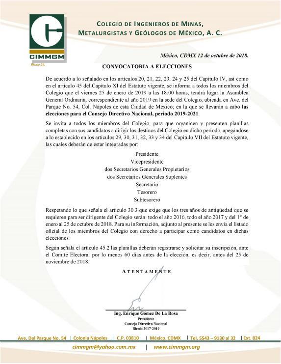Convocatoria a elecciones CIMMGM