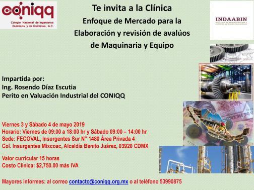 PUBLICIDAD CLINICA ENFOQUE DE MERCADO PARA LA ELABORACION Y REVISION DE AVALUOS DE MAQUINARIA Y EQUIPO 3 Y 4 MAYO 2019